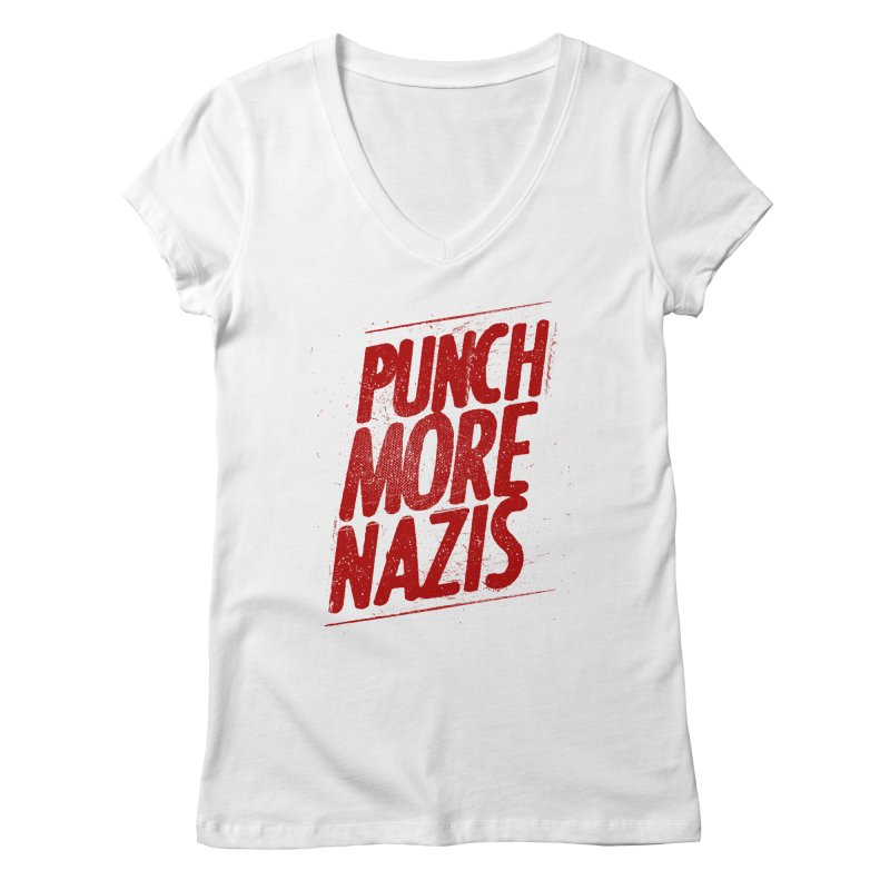 Punch more nazis Women's Regular V-Neck by Propaganda Department