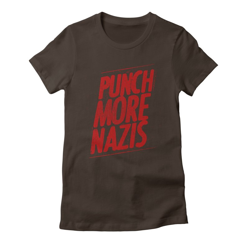 Punch more nazis Women's Fitted T-Shirt by Propaganda Department