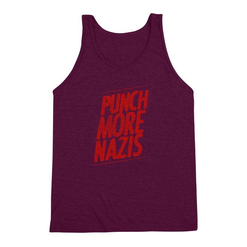 Punch more nazis Men's Triblend Tank by Propaganda Department