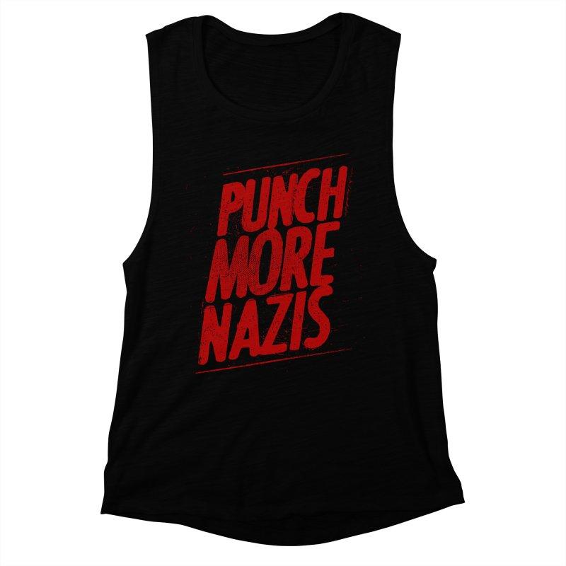 Punch more nazis Women's Muscle Tank by Propaganda Department