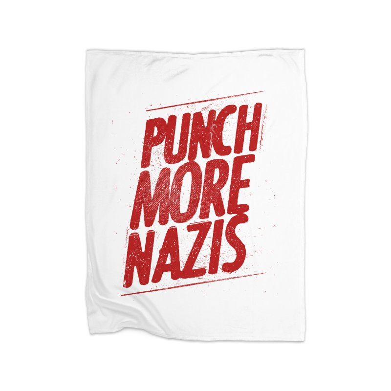 Punch more nazis Home Fleece Blanket Blanket by Propaganda Department