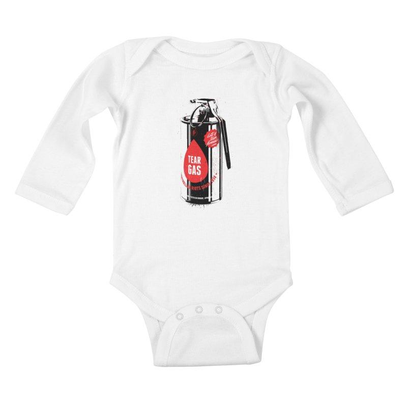 Tear gas grenade Kids Baby Longsleeve Bodysuit by Propaganda Department