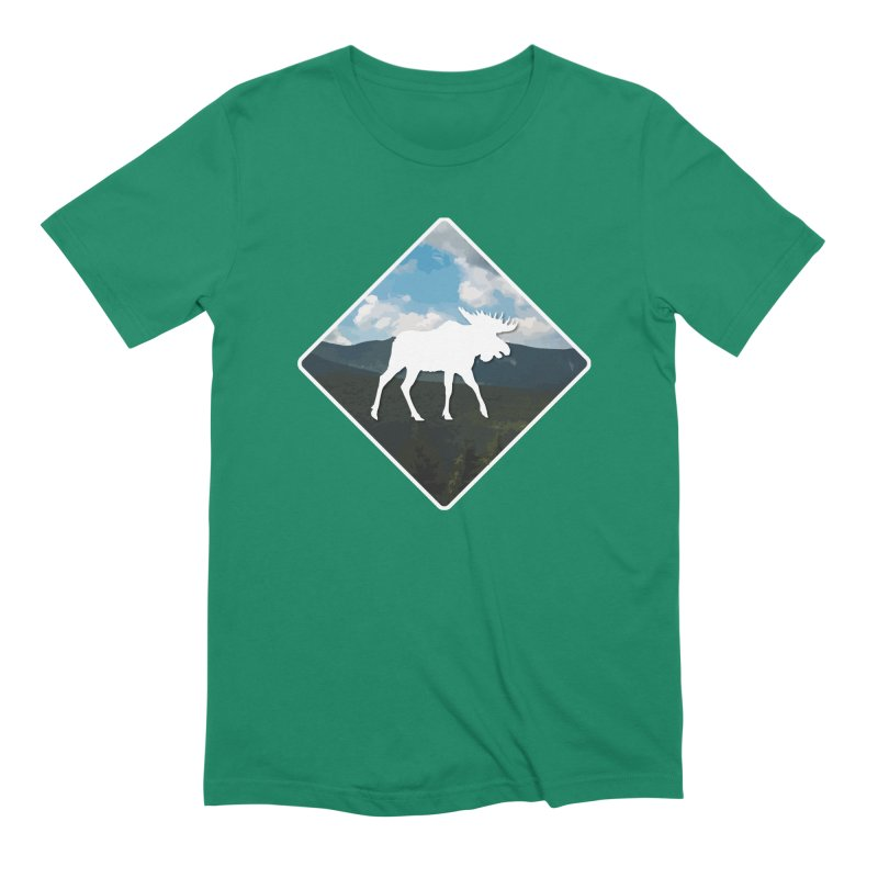Moose Crossing - New Hampshire in Men's Extra Soft T-Shirt Evergreen by Derek Palmer Photo Shop