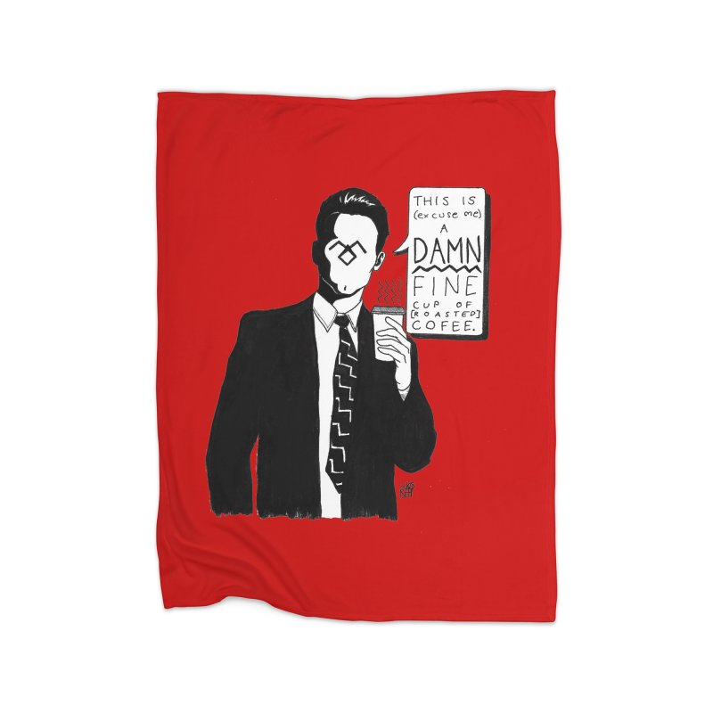 Damn Fine Coffee Home Fleece Blanket Blanket by DEROSNEC's Art Shop