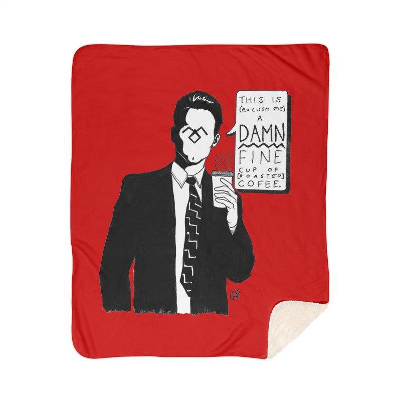 Damn Fine Coffee Home Sherpa Blanket Blanket by DEROSNEC's Art Shop