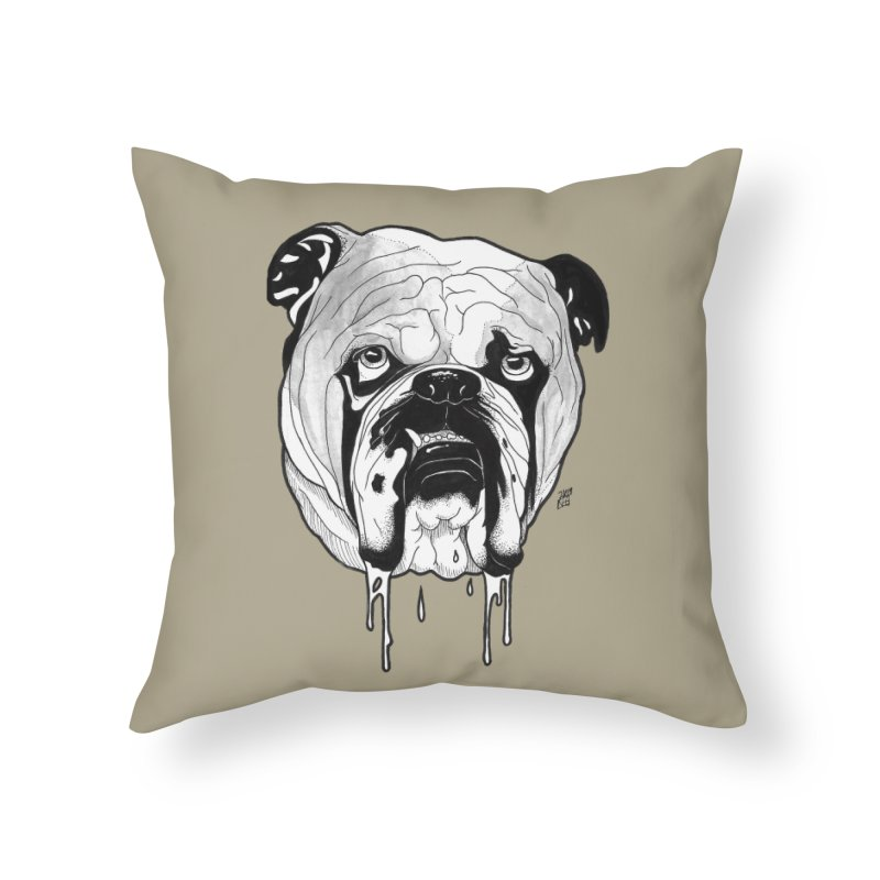 Drooling Home Throw Pillow by DEROSNEC's Art Shop