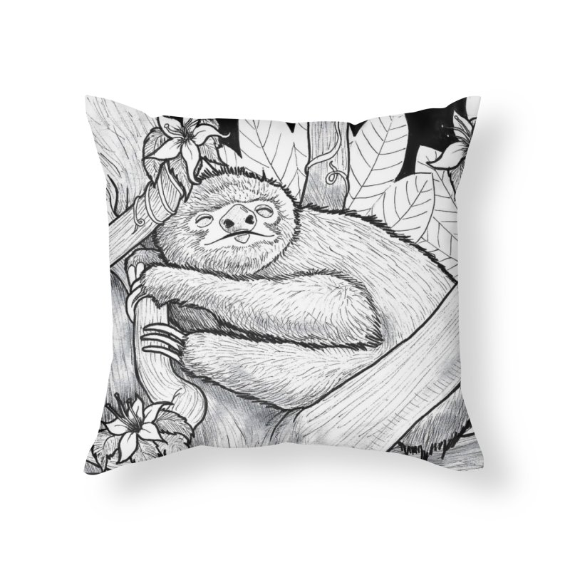Lazy Home Throw Pillow by DEROSNEC's Art Shop