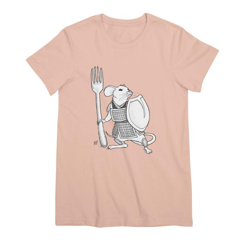 Warrior Mouse Women's Premium T-Shirt by DEROSNEC's Art Shop