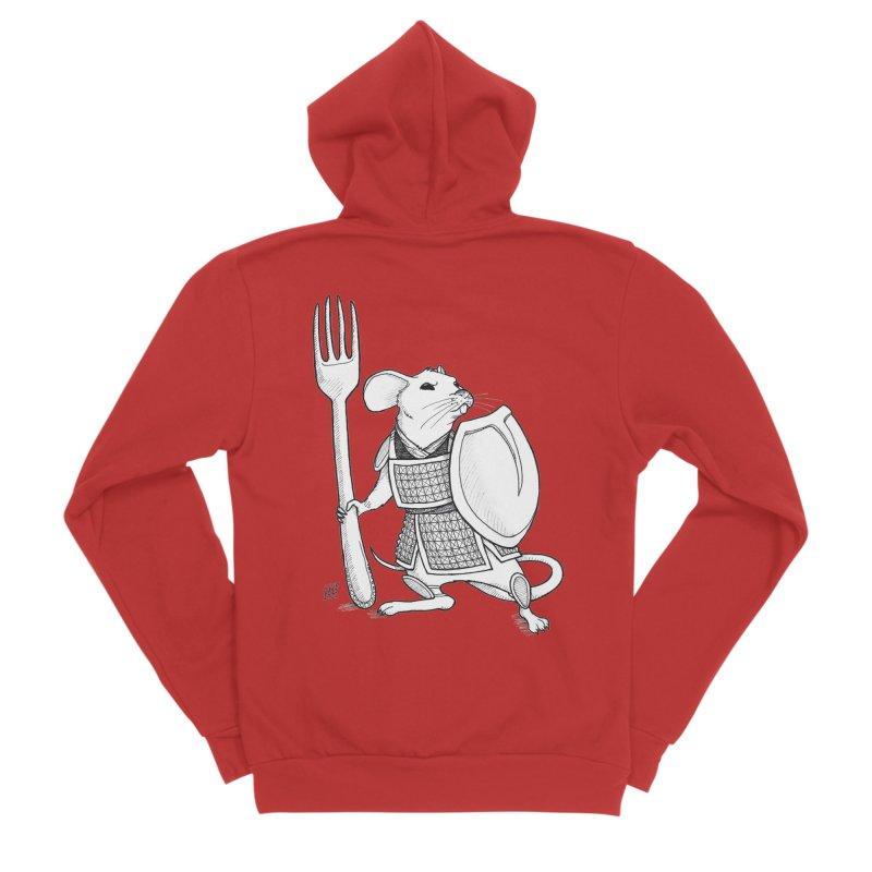 Warrior Mouse Men's Sponge Fleece Zip-Up Hoody by DEROSNEC's Art Shop