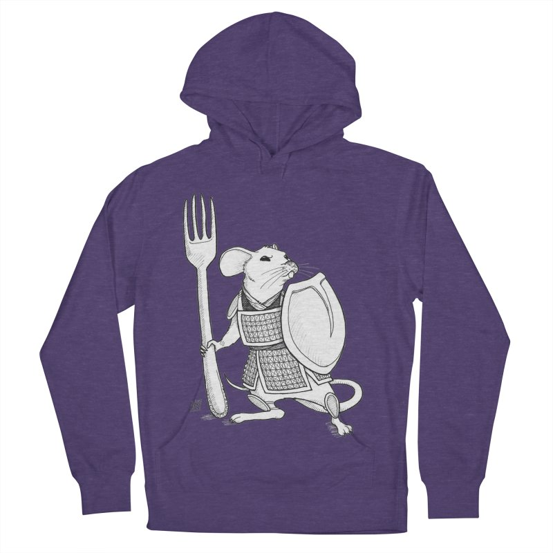 Warrior Mouse Women's French Terry Pullover Hoody by DEROSNEC's Art Shop