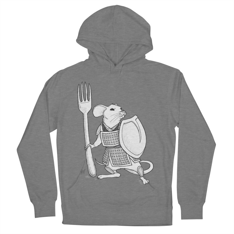 Warrior Mouse Men's French Terry Pullover Hoody by DEROSNEC's Art Shop