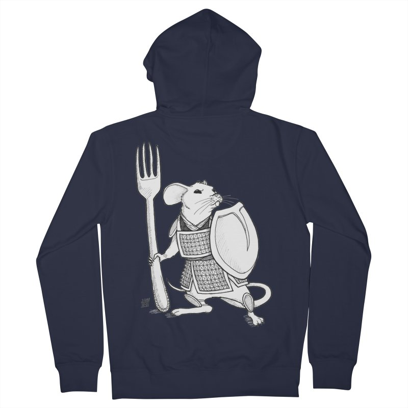 Warrior Mouse Women's French Terry Zip-Up Hoody by DEROSNEC's Art Shop