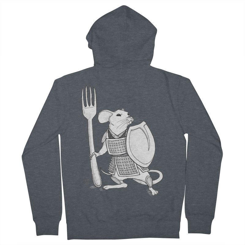 Warrior Mouse Men's French Terry Zip-Up Hoody by DEROSNEC's Art Shop