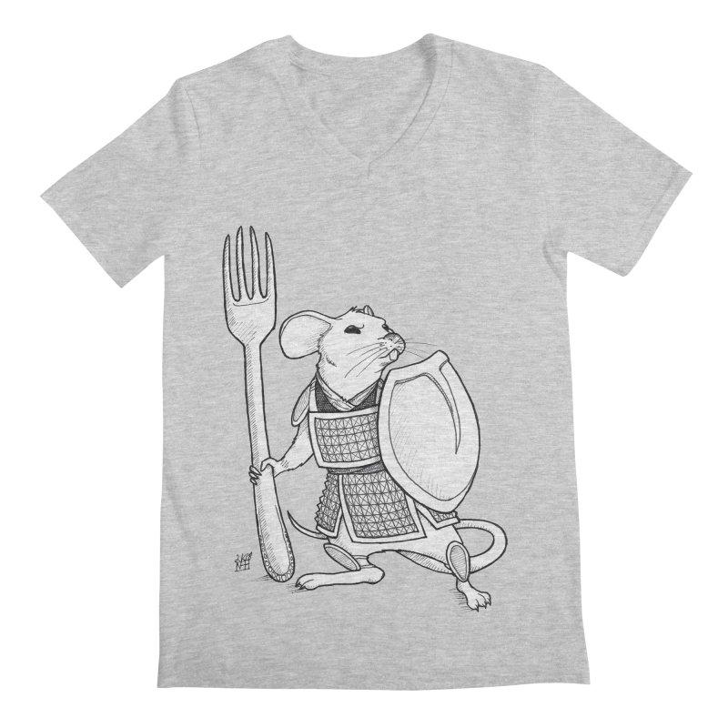 Warrior Mouse Men's Regular V-Neck by DEROSNEC's Art Shop