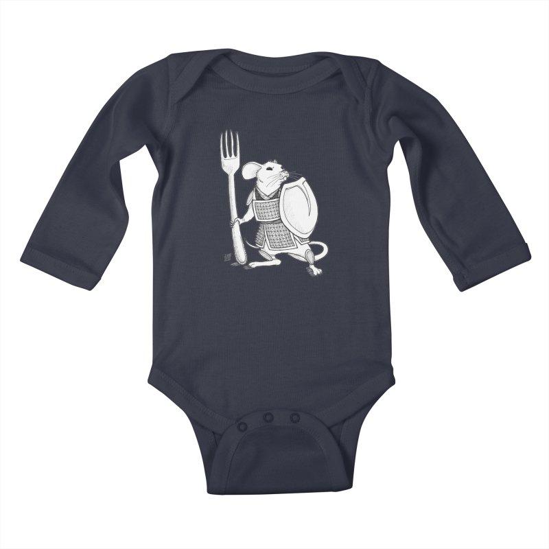 Warrior Mouse Kids Baby Longsleeve Bodysuit by DEROSNEC's Art Shop
