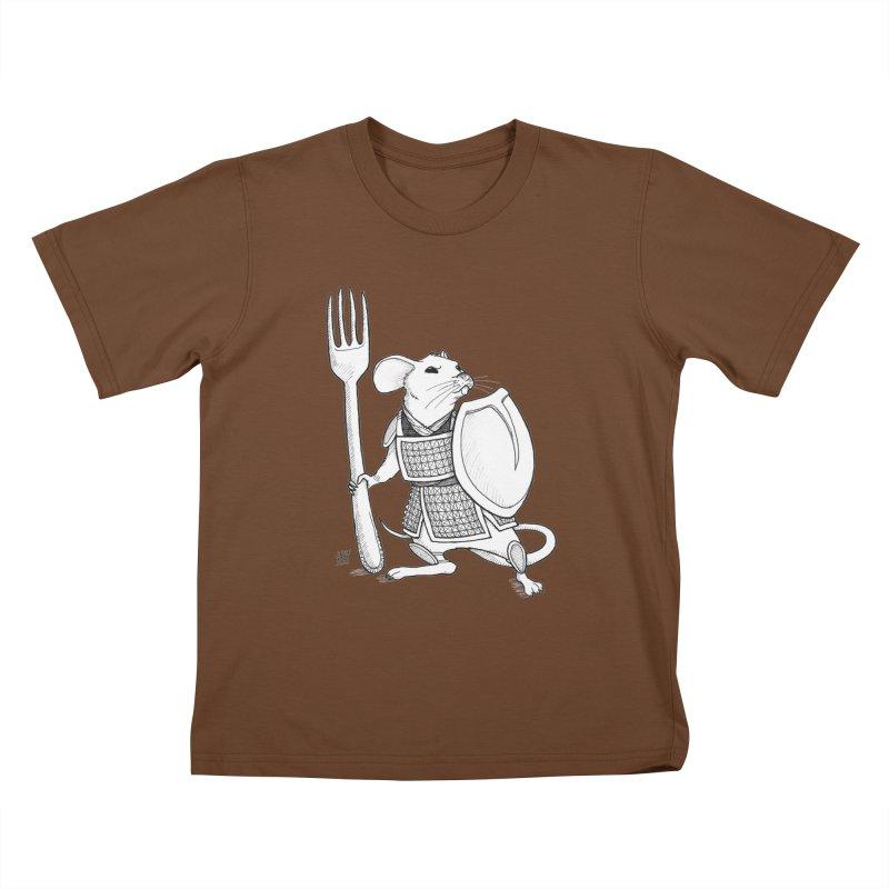 Warrior Mouse Kids T-Shirt by DEROSNEC's Art Shop