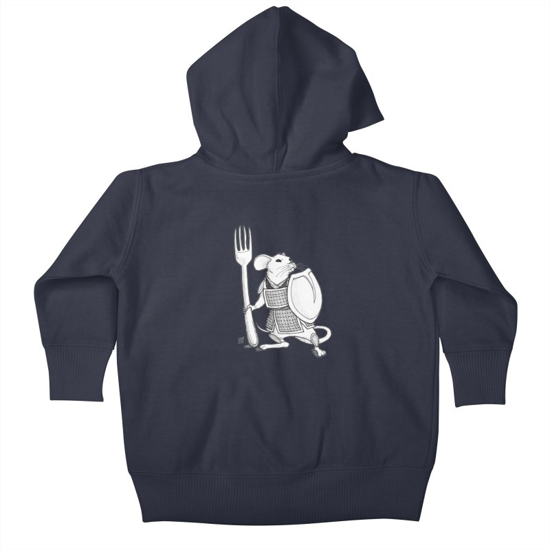 Warrior Mouse Kids Baby Zip-Up Hoody by DEROSNEC's Art Shop