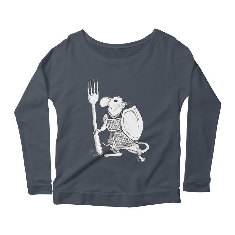 Warrior Mouse Women's Scoop Neck Longsleeve T-Shirt by DEROSNEC's Art Shop