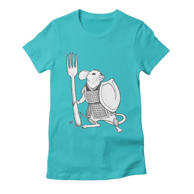 Warrior Mouse Women's Fitted T-Shirt by DEROSNEC's Art Shop