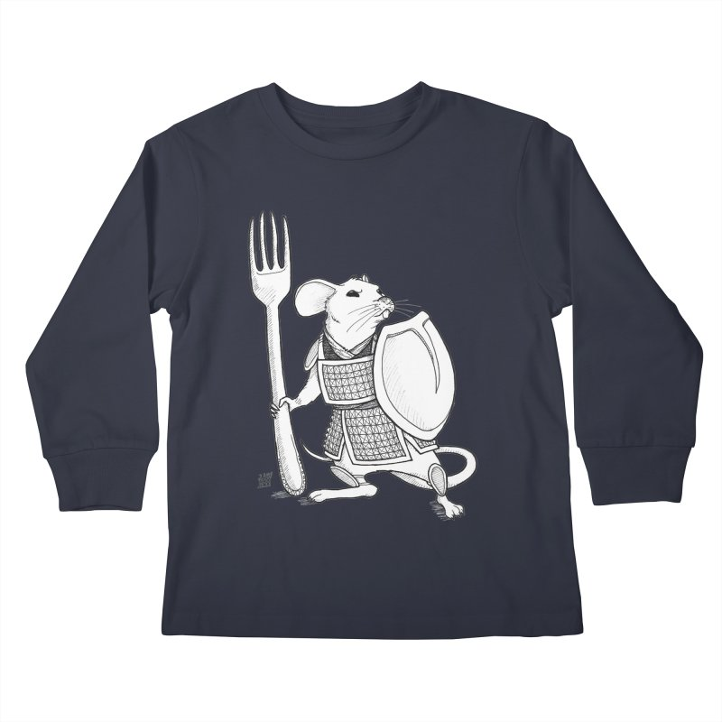 Warrior Mouse Kids Longsleeve T-Shirt by DEROSNEC's Art Shop