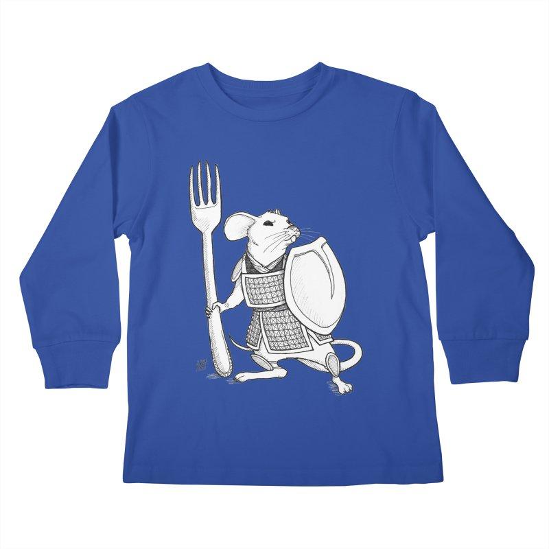 Warrior Mouse Kids Longsleeve T-Shirt by DEROSNEC's Art Shop