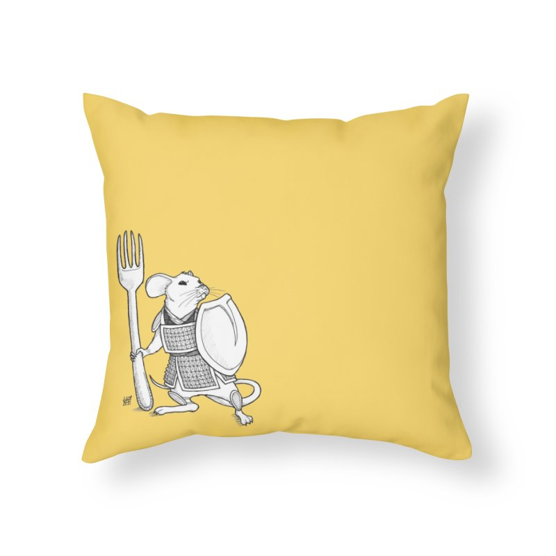 Warrior Mouse Home Throw Pillow by DEROSNEC's Art Shop