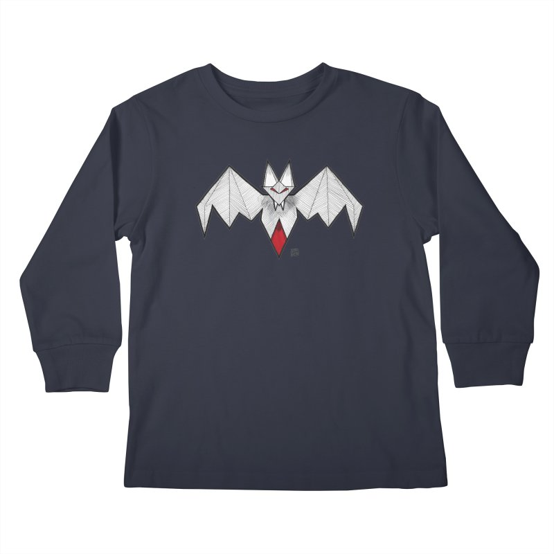 Angular Bat Kids Longsleeve T-Shirt by DEROSNEC's Art Shop