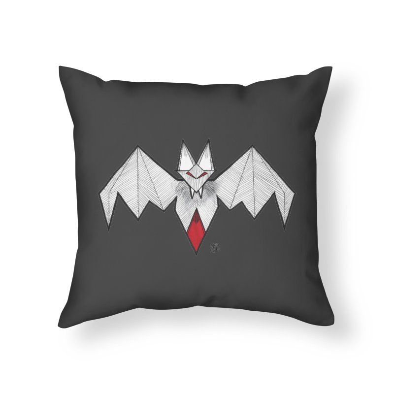 Angular Bat Home Throw Pillow by DEROSNEC's Art Shop