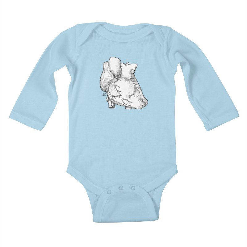 The Most Fragile Part of the Body Kids Baby Longsleeve Bodysuit by DEROSNEC's Art Shop
