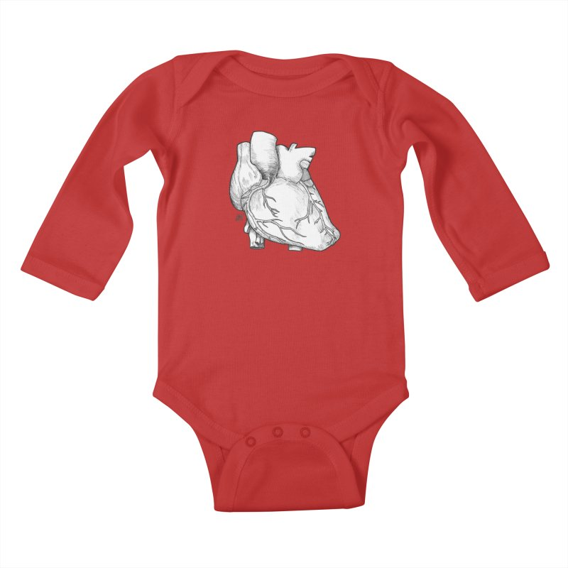 The Most Fragile Part of the Body Kids Baby Longsleeve Bodysuit by DEROSNEC's Art Shop
