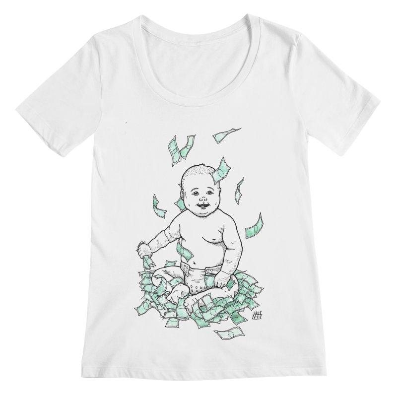 Money Baby Women's Regular Scoop Neck by DEROSNEC's Art Shop