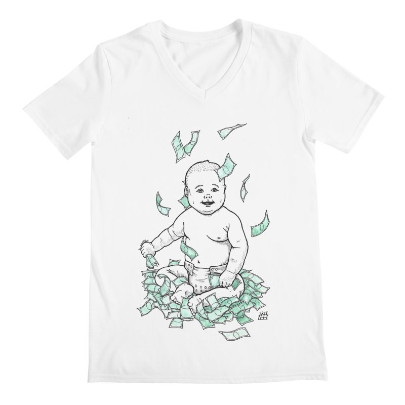 Money Baby Men's Regular V-Neck by DEROSNEC's Art Shop