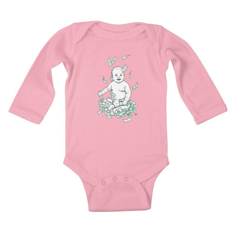 Money Baby Kids Baby Longsleeve Bodysuit by DEROSNEC's Art Shop