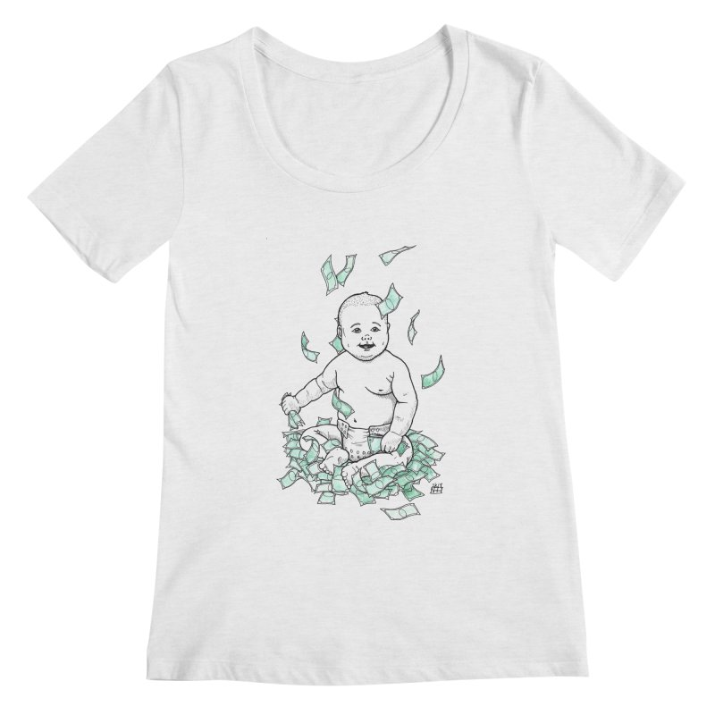 Money Baby Women's Regular Scoop Neck by DEROSNEC's Art Shop