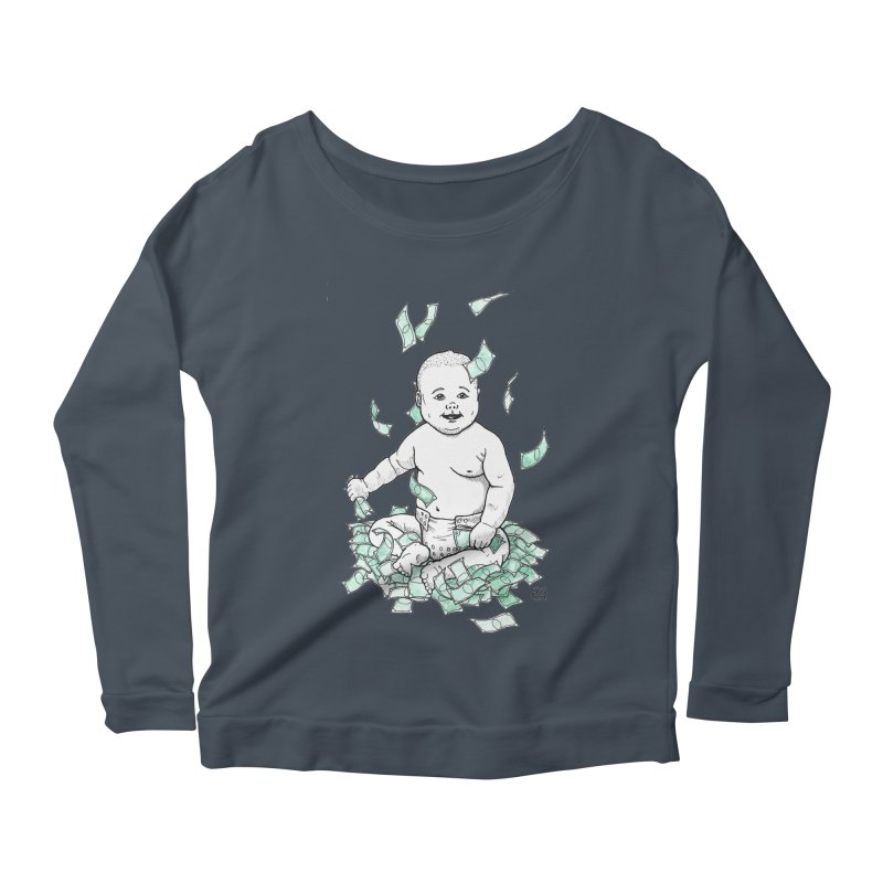 Money Baby Women's Scoop Neck Longsleeve T-Shirt by DEROSNEC's Art Shop