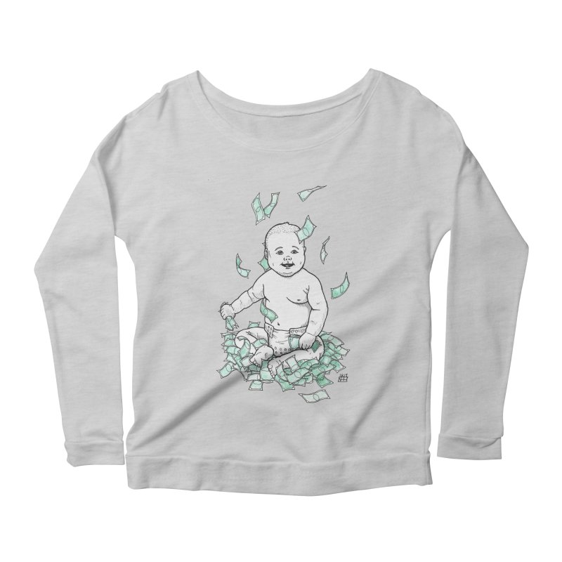 Money Baby Women's Scoop Neck Longsleeve T-Shirt by DEROSNEC's Art Shop