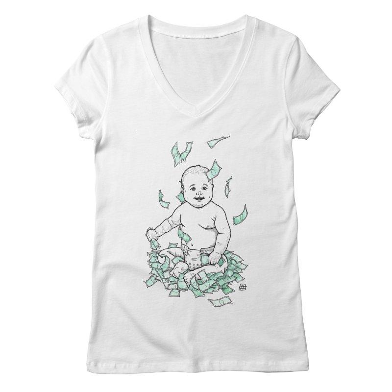 Money Baby Women's Regular V-Neck by DEROSNEC's Art Shop