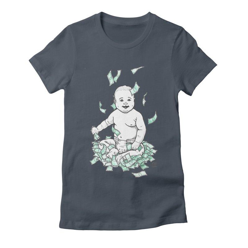 Money Baby Women's Fitted T-Shirt by DEROSNEC's Art Shop