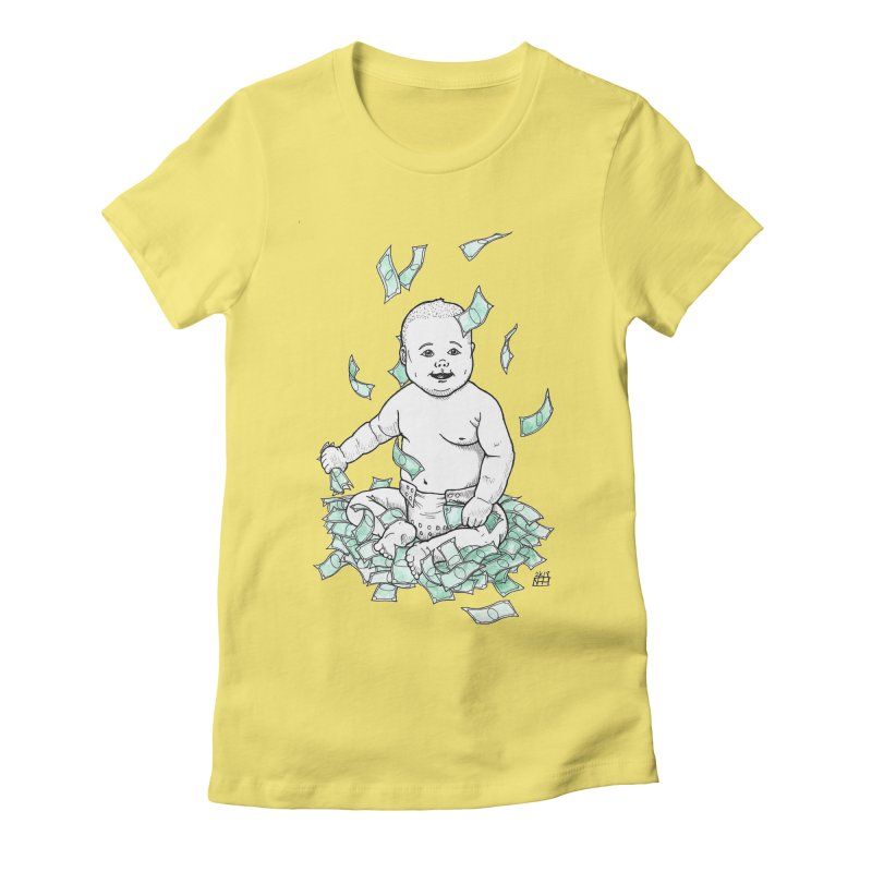 Money Baby Women's Fitted T-Shirt by DEROSNEC's Art Shop