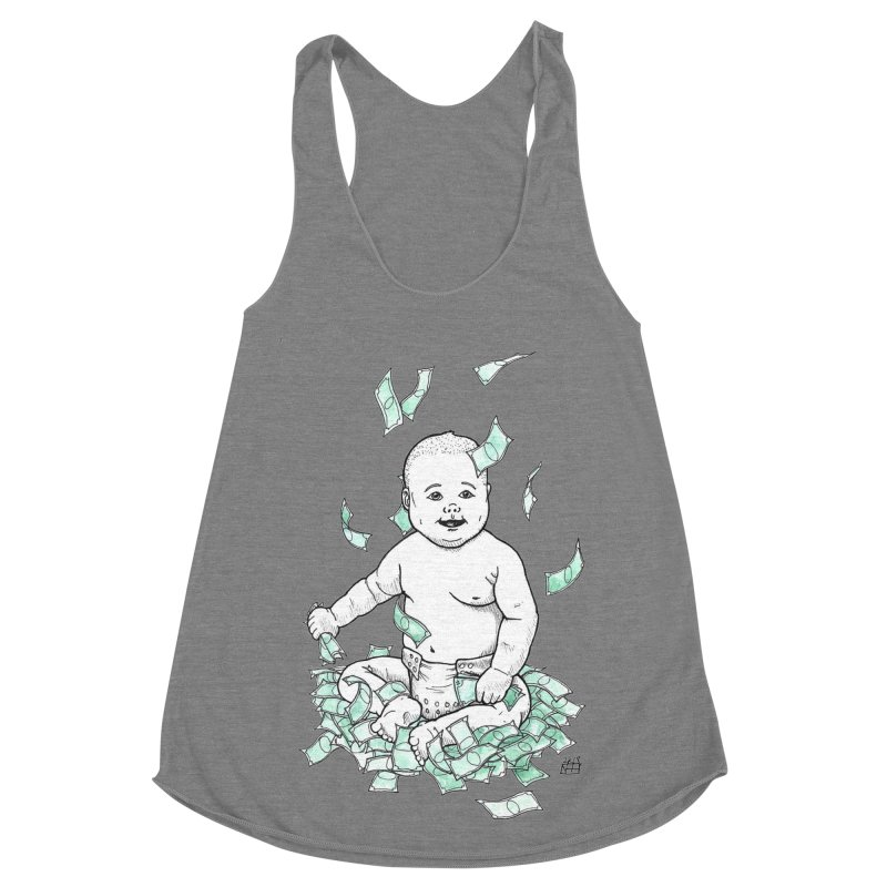 Money Baby Women's Racerback Triblend Tank by DEROSNEC's Art Shop