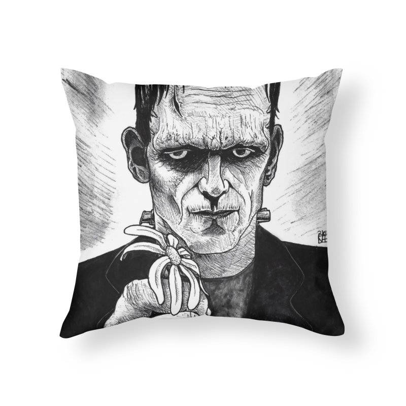 A Gift from the Monster Home Throw Pillow by DEROSNEC's Art Shop
