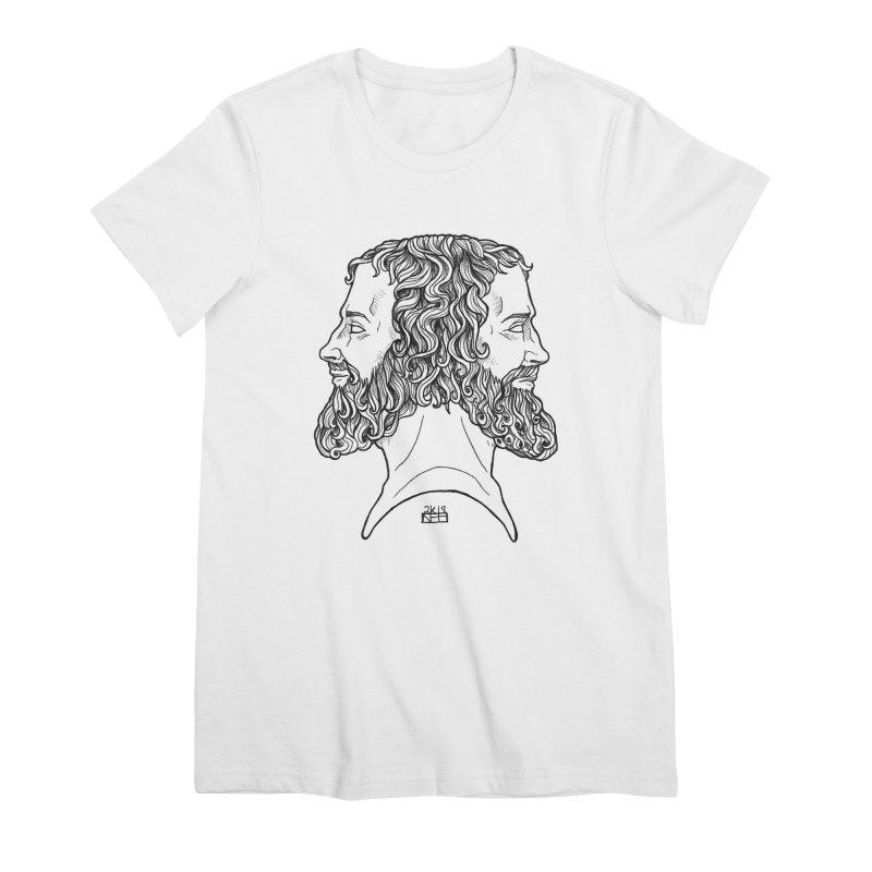 Janus Sees Both Past and Future Women's Premium T-Shirt by DEROSNEC's Art Shop