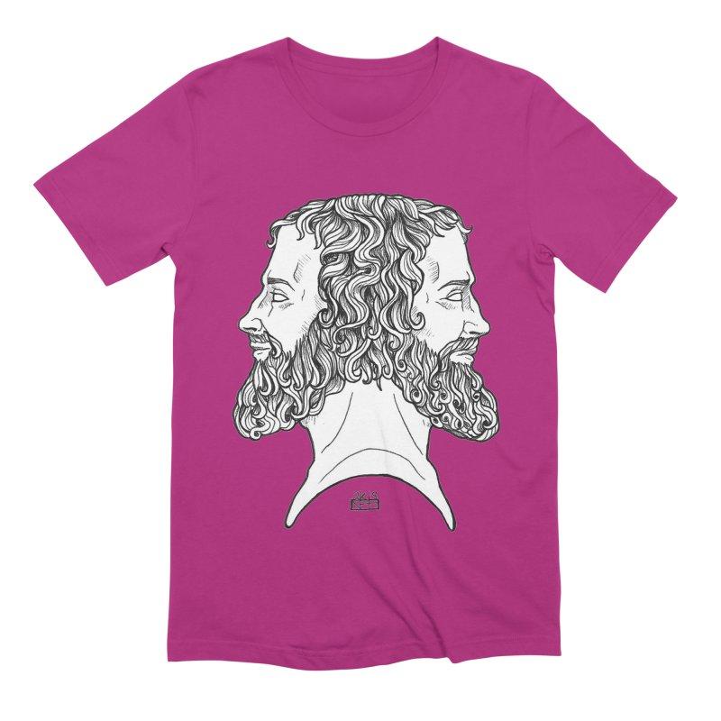 Janus Sees Both Past and Future Men's Extra Soft T-Shirt by DEROSNEC's Art Shop