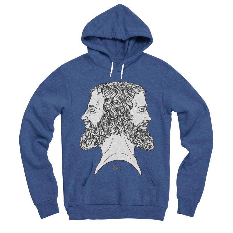 Janus Sees Both Past and Future Men's Sponge Fleece Pullover Hoody by DEROSNEC's Art Shop