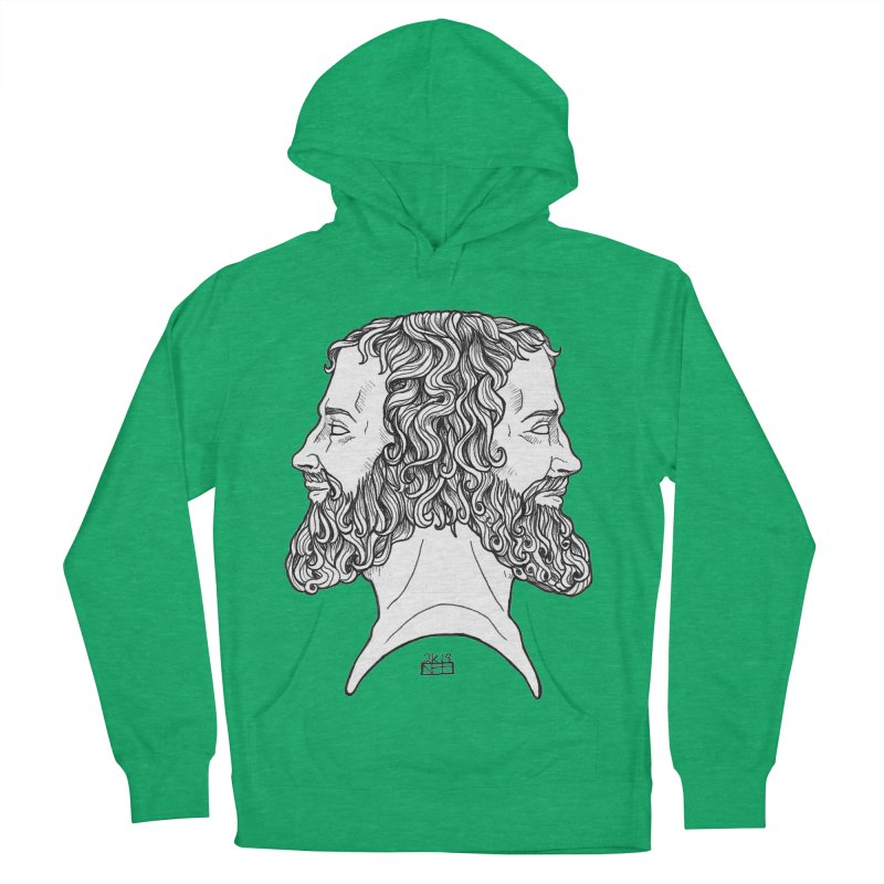 Janus Sees Both Past and Future Men's French Terry Pullover Hoody by DEROSNEC's Art Shop