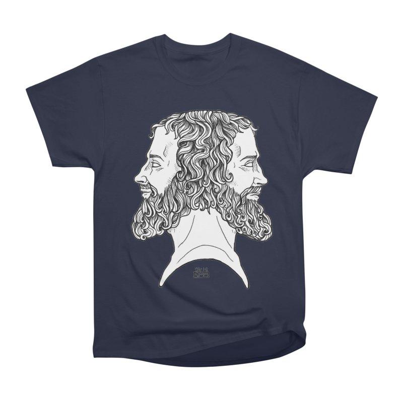 Janus Sees Both Past and Future Men's Heavyweight T-Shirt by DEROSNEC's Art Shop