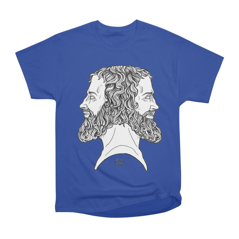 Janus Sees Both Past and Future Men's Heavyweight T-Shirt by DEROSNEC's Art Shop