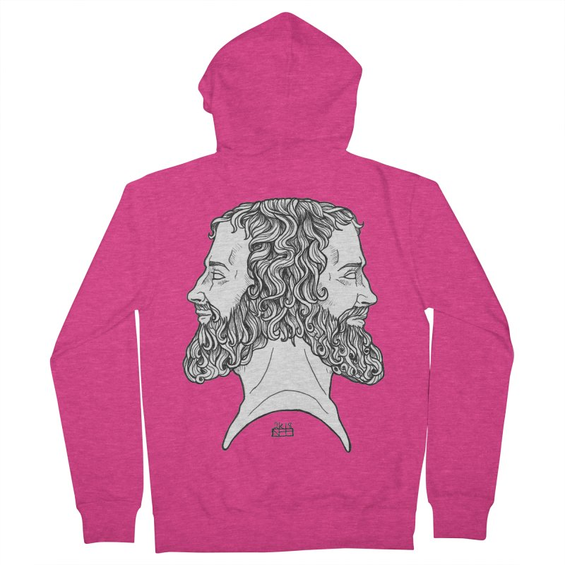 Janus Sees Both Past and Future Women's French Terry Zip-Up Hoody by DEROSNEC's Art Shop