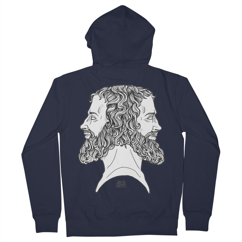 Janus Sees Both Past and Future Men's French Terry Zip-Up Hoody by DEROSNEC's Art Shop