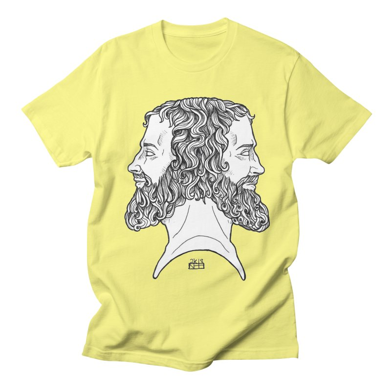 Janus Sees Both Past and Future Men's Regular T-Shirt by DEROSNEC's Art Shop